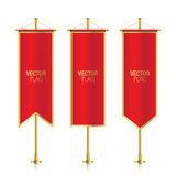 Different shaped red vertical banner flags. Stock Images