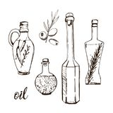 Oil bottles hand drawn sketch. Royalty Free Stock Photography