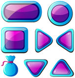 Different shapes of buttons in purple and blue. Illustration Royalty Free Stock Photos