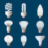 Different shapes of cfl and bulb Royalty Free Stock Images