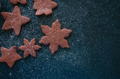 Different shapes of chocolate gingerbread cookies sprinkled with royalty free stock images