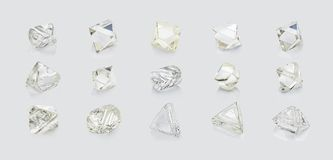Different shapes diamonds isolated on white background.  Royalty Free Stock Photos