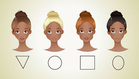 Different shapes of face ( African American version ) Royalty Free Stock Photo
