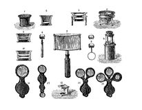 Different shapes of lens, vintage engraving Royalty Free Stock Photo