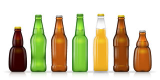 Different shapes and sizes of beer bottles vector. Different shapes of beer bottles for beer or or other beverage. Vector illustration vector illustration
