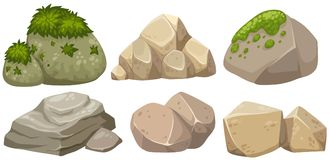 Different shapes of stone with moss. Illustration vector illustration