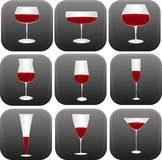 Different shapes of wine glasses Royalty Free Stock Photos