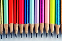 Different Sharpened Colorful Pencils and erasers Stock Photos