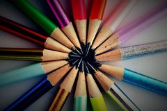 Different Sharpened Colorful Pencils and erasers Royalty Free Stock Photo