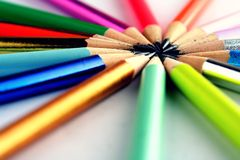 Different Sharpened Colorful Pencils and erasers Royalty Free Stock Photography