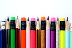 Different Sharpened Colorful Pencils and erasers Royalty Free Stock Photos