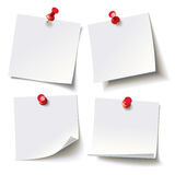 Different sheets, pinned red pushbutton, ready for your message Royalty Free Stock Photos