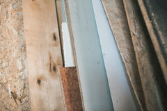 Different sheets of plywood and wood in the production warehouse Royalty Free Stock Photography