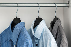 Different shirt in the closet stock photography