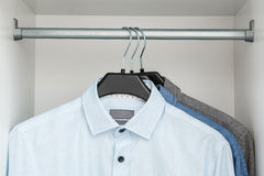 Different shirt in the closet royalty free stock photography