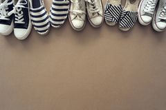 Different shoes on the background. Different shoes on the  background stock photography