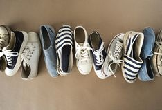 Different shoes on the background. Different shoes on the  background royalty free stock images