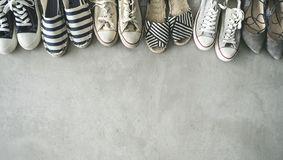 Different shoes on the background. Different shoes on the  background royalty free stock image