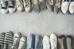 Different shoes on the background. Different shoes on the  background stock photos