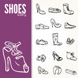 Different shoes icon set, vector illustration Stock Photos