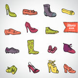 Different shoes icon set, vector illustration Royalty Free Stock Photos