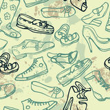 Different shoes seamless pattern, vector illustration Royalty Free Stock Images