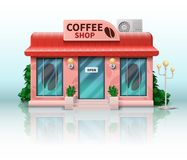 Different shop and store icon. Includes realistic coffee shop on white background. Vector illustration Stock Illustration