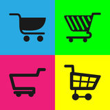 4 different shopping carts Stock Image