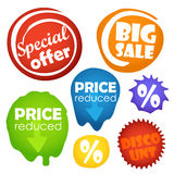 Different shopping informers. Color blots Royalty Free Stock Photography