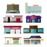 Different shops, buildings and stores flat icon set. Isolated on white. Includes hotel building, hospital, fire station, casino, garage, supermarket, gas Stock Photography