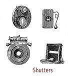 Different shutters for atelier cameras in use at the end of XIX Stock Photo