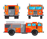 Different sides of fire truck. Specific professional car for fireman. Vector car fire, alarm automobile with ladder illustration Stock Photography