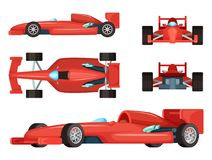 Different sides of sport cars. Vector illustration isolated. Car speed formula vector illustration