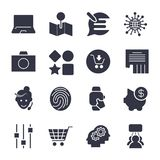 Different simple icons for apps, programs, sites and other. Univ stock illustration