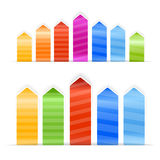 Different size color arrow stickers Royalty Free Stock Photos
