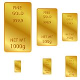 6 different size of fine gold isolated on white. Vector 6 different size of fine gold isolated on white Royalty Free Stock Images