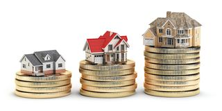 Different size houses vith different value on stacks of coins. C Stock Illustration