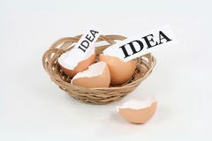 Different Size Ideas. Two ideas, one small and one big, hatch out of eggshells Stock Photo