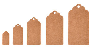 Different size label tags from recycled paper isolated on a white background Stock Photos