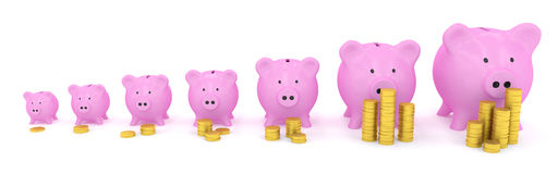 Different size piggy banks with coins Royalty Free Stock Image