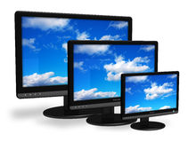 Different size TFT displays. Isolated over white background Royalty Free Stock Photography