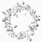 Different size white cubes in circular orbit. 3d style vector illustration. Suitable for any banner, ad, technology and abstract themes Royalty Free Stock Image
