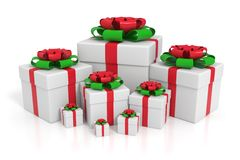 Different sized gift boxes Stock Images