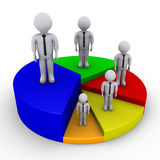 Different sized people on pie chart. Different sized 3d businessmen on pieces of pie chart Stock Photo