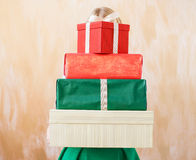 Different sized present boxes Royalty Free Stock Image