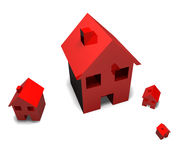 Different sized red houses Stock Photography