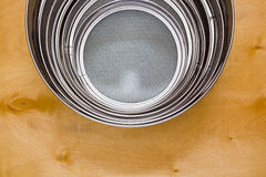 Different sized sieves Stock Photography