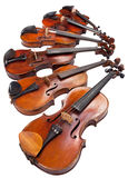 Different sized violins close up Stock Photos
