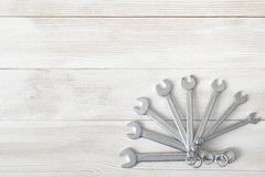 Different sized wrenches spread out like a fan Royalty Free Stock Photos