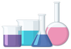 Different sizes of beakers with liquid Stock Images